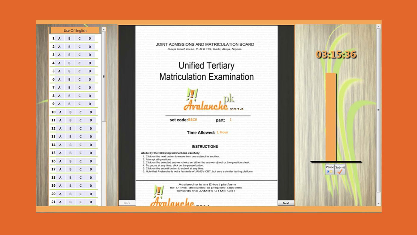 Avalanche JAMB CBT software standard-Exam Interface varaint 3